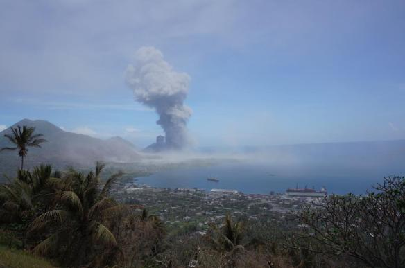 And then Tavurvur went BOOM! and blew ash into the air.  This photo from the observatory, Matupit Island is off to the right of the volcano and covered in thick ash.  Glad we got out when we did as it was still going 2 days later...
